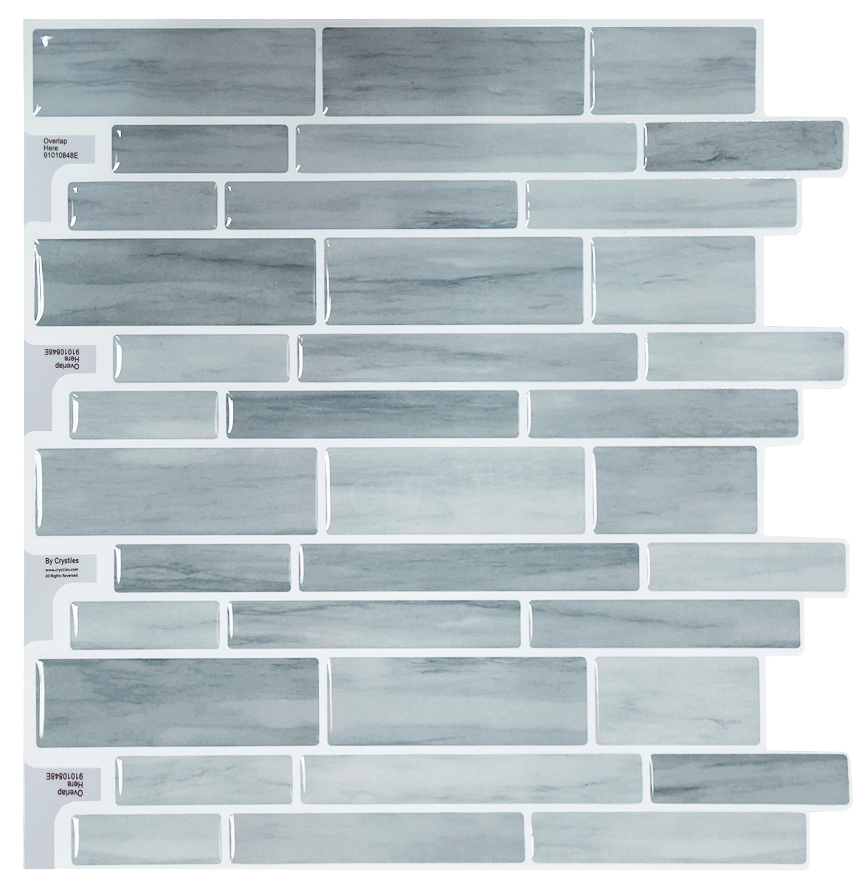 "Crystiles Peel Stick DIY Backsplash Tile Stick-on Vinyl Wall Tile Kitchen Bathroom, Item #91010848, 10"" X 10"", 6 Sheets Pack"