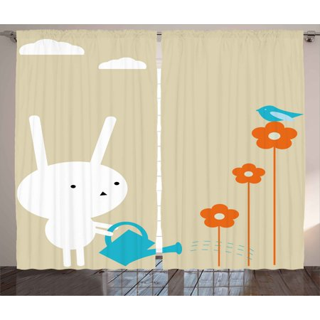 Animal decor curtains 2 panels set a cute bunny watering for Animal room decoration games