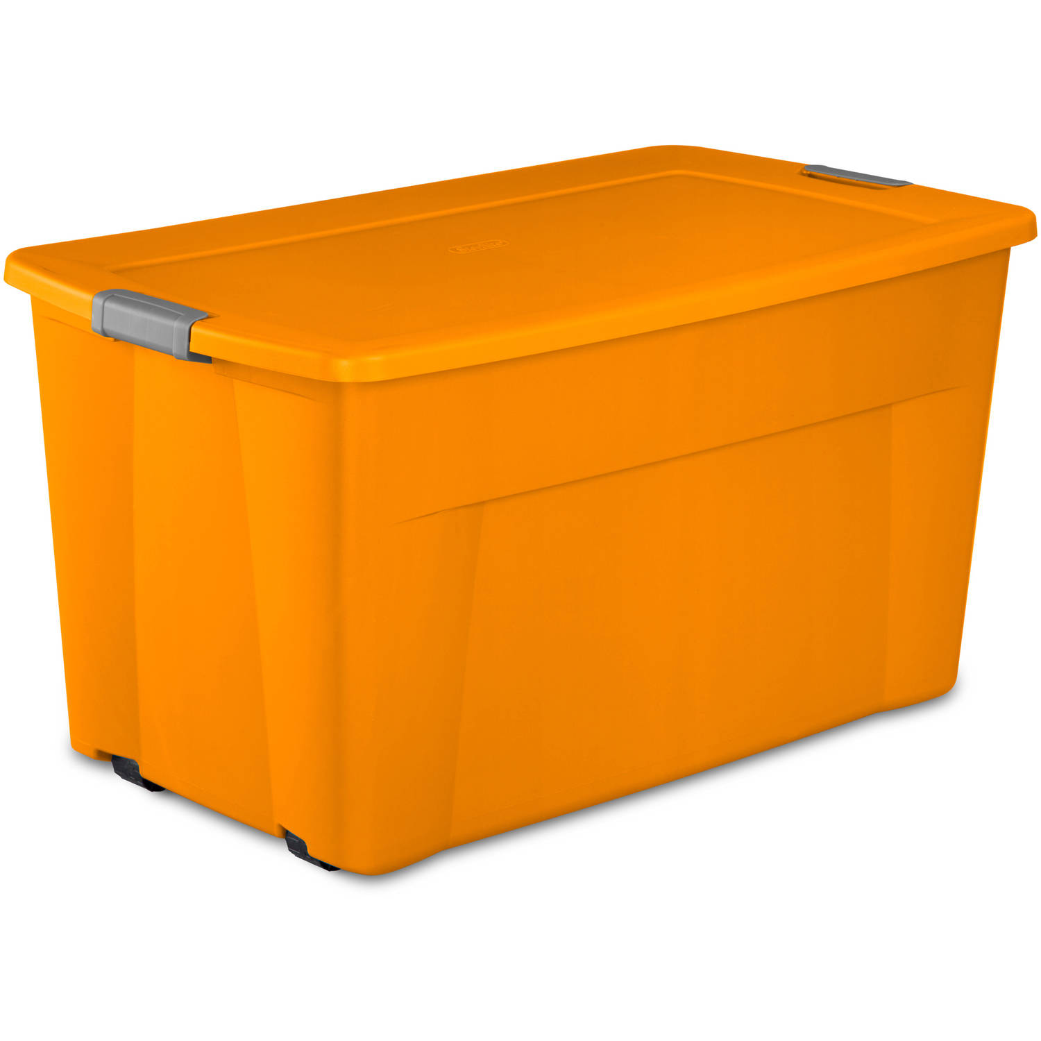 Sterilite 45 Gal Wheeled Latch Tote Bright Pumpkin Case Of 4