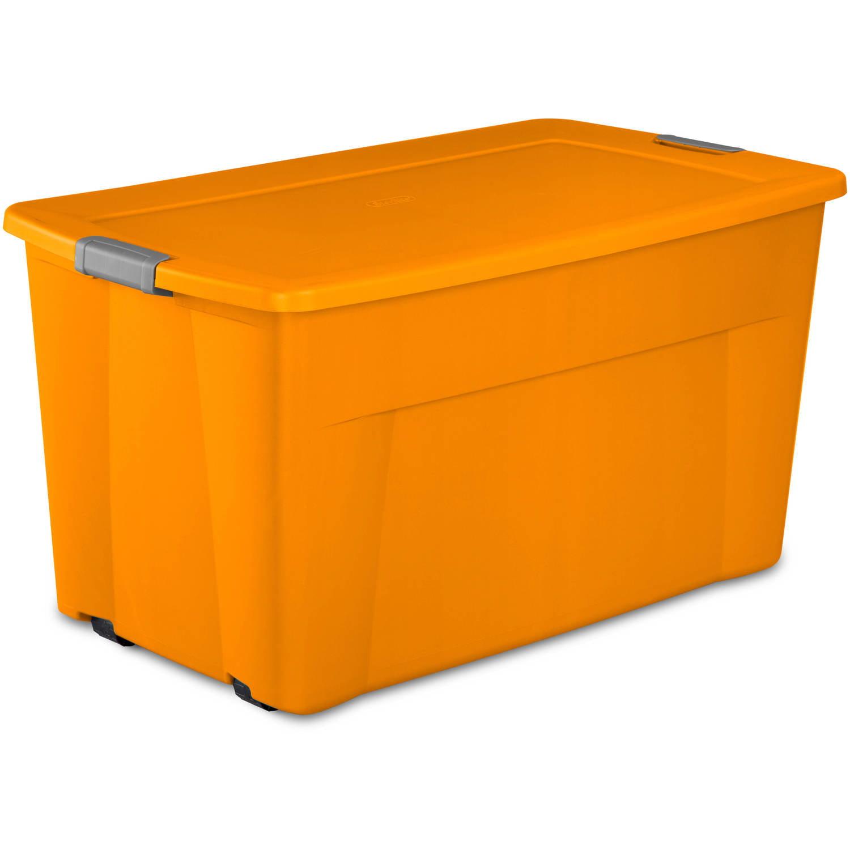 Sterilite 45 Gal Wheeled Latch Tote Bright Pumpkin Case