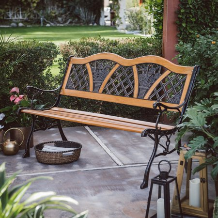 Coral Coast Clemens Wood and Metal 49.6 in. Double Curve-Back Garden Bench