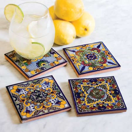 Native Trails Tvcb21 Moroccan Midnight Hand Painted Tile Coasters Set Of 4