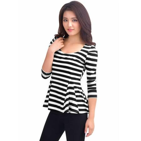 Striped Puff Sleeve Top - Women Scoop Neck Long Puff Sleeves Stripes Peplum Top
