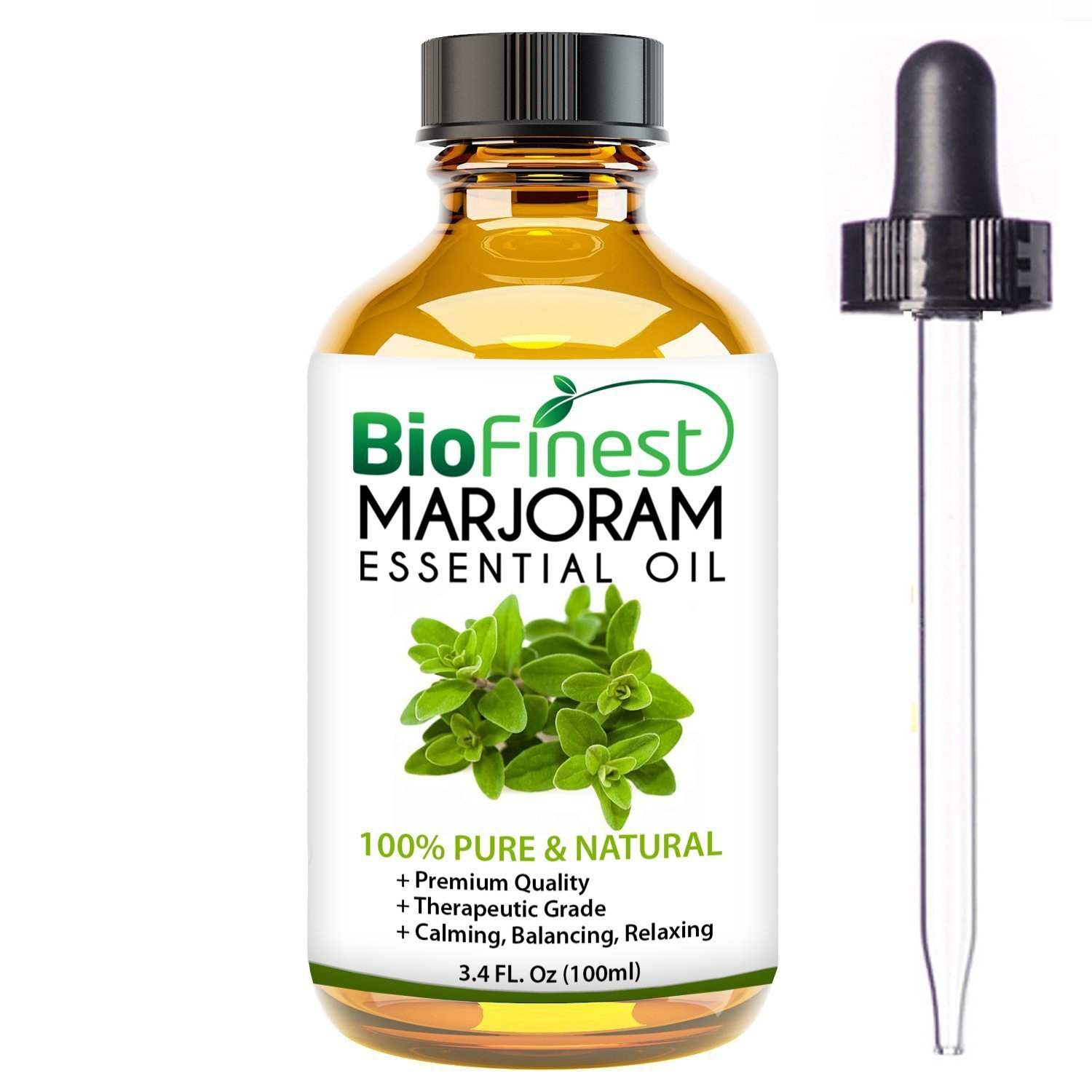 BioFinest Marjoram Oil - 100% Pure Marjoram Essential Oil - Premium Organic - Therapeutic Grade - Best For Aromatherapy - Antiseptic - Ease Stress/Anxiety - FREE E-Book and Dropper (100ml)