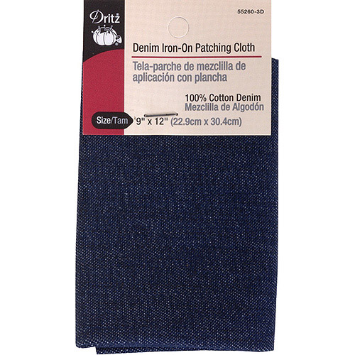 "Iron-On Patching Cloth, 9"" x 12"", Dark Blue Denim"
