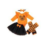 Xingqing Halloween Infant Baby Girl Romper Tops+Tutu Skirt+Headband +Leg Warmer Outfits Clothes Orange 0-6 Months