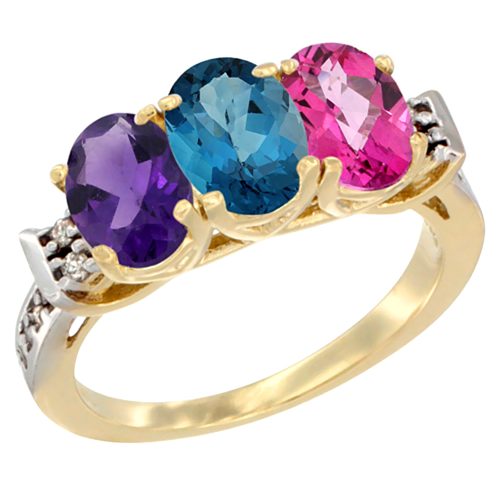 10K Yellow Gold Natural Amethyst, London Blue Topaz & Pink Topaz Ring 3-Stone Oval 7x5 mm Diamond Accent, sizes 5 10 by WorldJewels