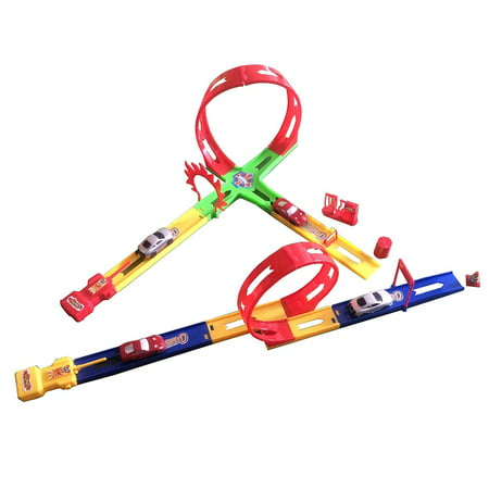 Dazzling Toys Track Racer Racing Car Toy Set - Set Includes: 2 Car Pushers, 4 Piece Tracks, Mini Cars + Accessories - Car 2 Toys