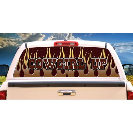 COWGIRL UP Rear Window Graphic decal tint window film truck horse car Horse Rear Window