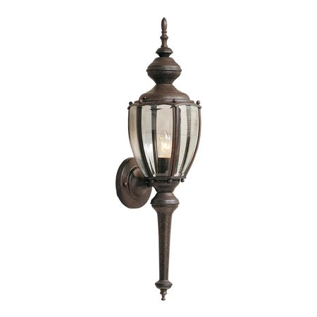 Rust patina 1 Light 7in. Wall Lantern from the Beveled Glass Lanterns
