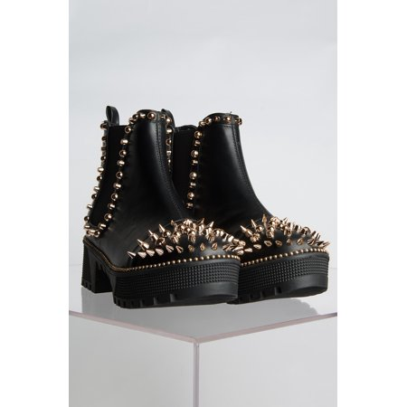 Black Platform Boots Cheap (Cape Robbin Spiky Rager Black Vegan Leather Gold Spike Platform Chelsea)