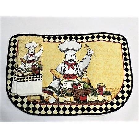 Kitchen Rug & Towel Set - Chef Themed Mat and Matching Towel Set - Kitchen Decorating Themes