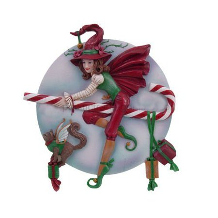 PTC Pacific Giftware Candy Cane Riding Christmas Holiday Witch Statue Figurine, 9