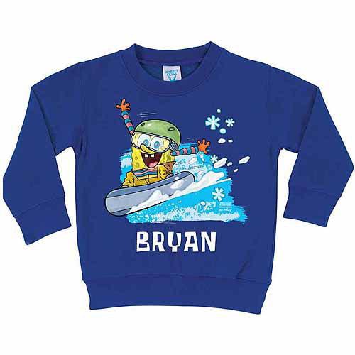 Personalized SpongeBob SquarePants Snowboarding Boys' Royal Blue Pullover Sweatshirt