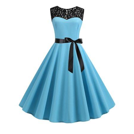 Women Vintage Style Lace 1940s 50s Rockabilly Evening Swing Skaters Tea Dress (Vintage Style Lace Dress)