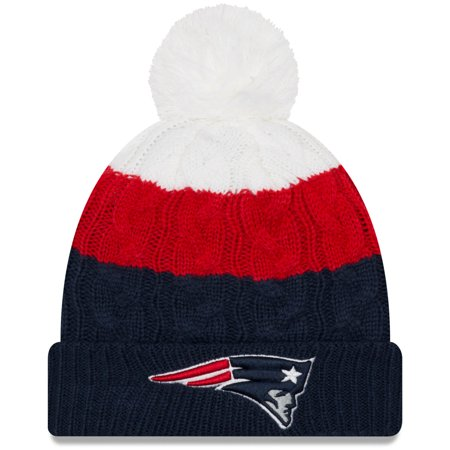 New England Patriots New Era Women's Layered Up 2 Cuffed Knit Hat with Pom - White/Navy - OSFA New England Patriots Collectibles