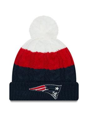New England Patriots New Era Women's Layered Up 2 Cuffed Knit Hat with Pom - White/Navy - OSFA