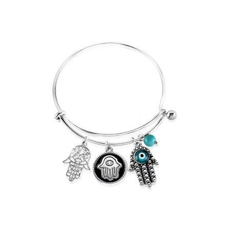 Gold Evil Eye Jewelry - Hamsa Charm with Evil Eye Stainless Steel Bangle Bracelet - 7