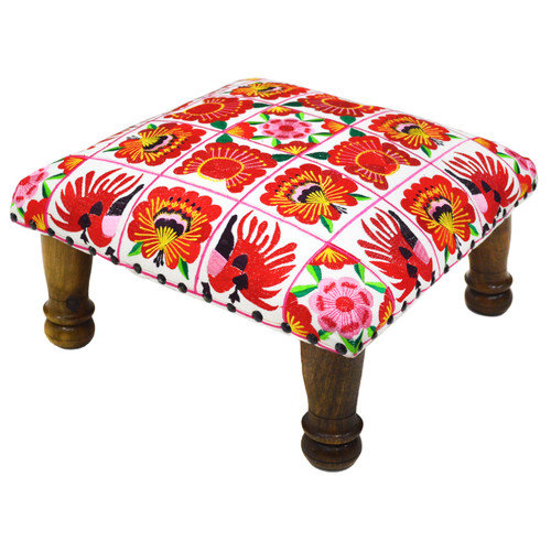 Divine Designs Embroidered Ottoman