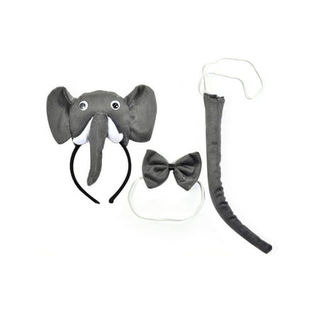Lux Accessories Grey Colored Elephant Head Trunk Ribbonbow Tail Costume Dressup - Falling Head Costume