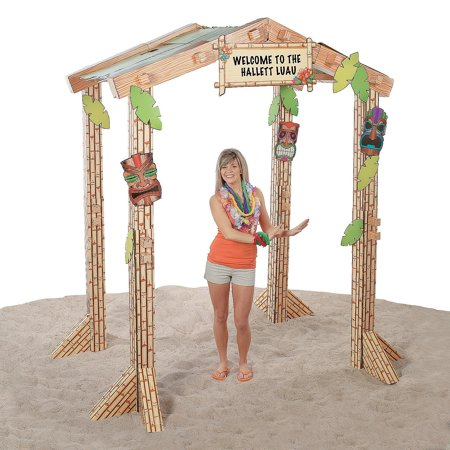 Fun Express - 3d Tiki Hut for Party - Party Decor - Large Decor - 3 - D Stand Ups - Party - 1 Piece - Tiki Hut Party