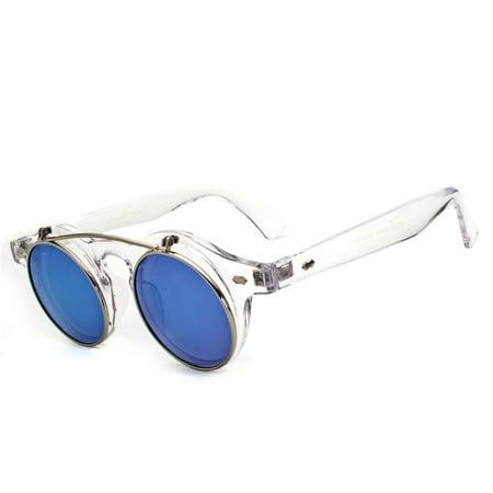 Django Round Flip Up Mirror Color Lens Round Shape Circle Sunglasses Steampunk (Circle Lens Shades)