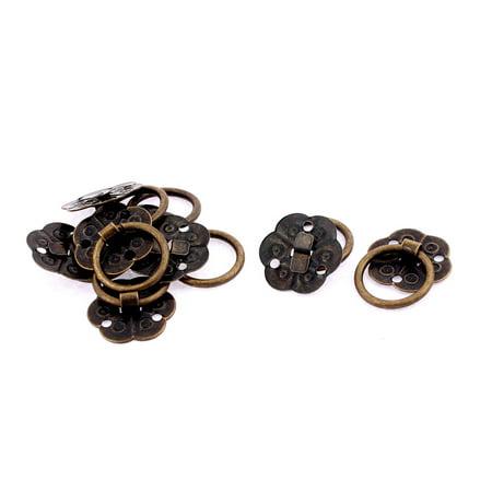 - Jewellery Box Wooden Case Plum Blossom Design Pull Handle Ring Bronze Tone 8pcs