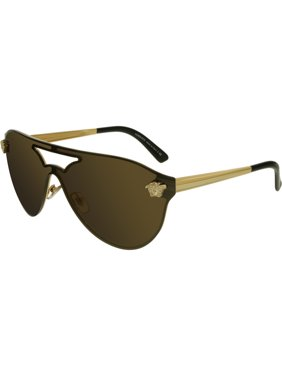 a90ca3829f Product Image Versace Women s Mirrored VE2161-1002F9-42 Gold Shield  Sunglasses