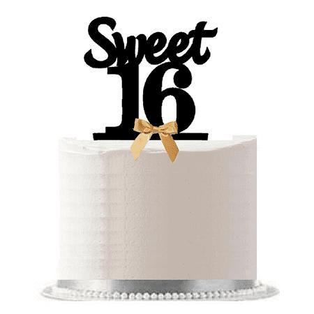 Sweet 16 (16th Birthday) Gold Bow Elegant Cake Decoration Cake Topper