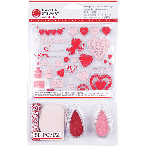 Martha Stewart Valentine Stamp and Ink Set With Tags