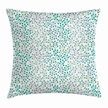 Leaves Throw Pillow Cushion Cover, Flowering Branches Gentle Spring Season Little Buds Romantic Cottage Ornament, Decorative Square Accent Pillow Case, 24 X 24 Inches, Teal Grey Cream, by (Romantic Country Cottages)