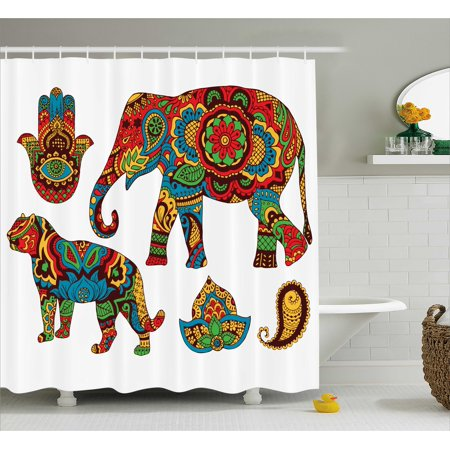 Savannah Trim Shower - Hamsa Shower Curtain, African Savannah Animals Paisley and Hamsa Hand Pattern with Orient Ornate Malaysian, Fabric Bathroom Set with Hooks, Multicolor, by Ambesonne
