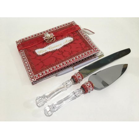 Mis Quince Anos Quinceanera Red Guest Book With Cake Knife