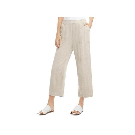 Karen Kane Womens Deep Pockets Cropped Casual Pants Beige L Knit Pant Casual Pants