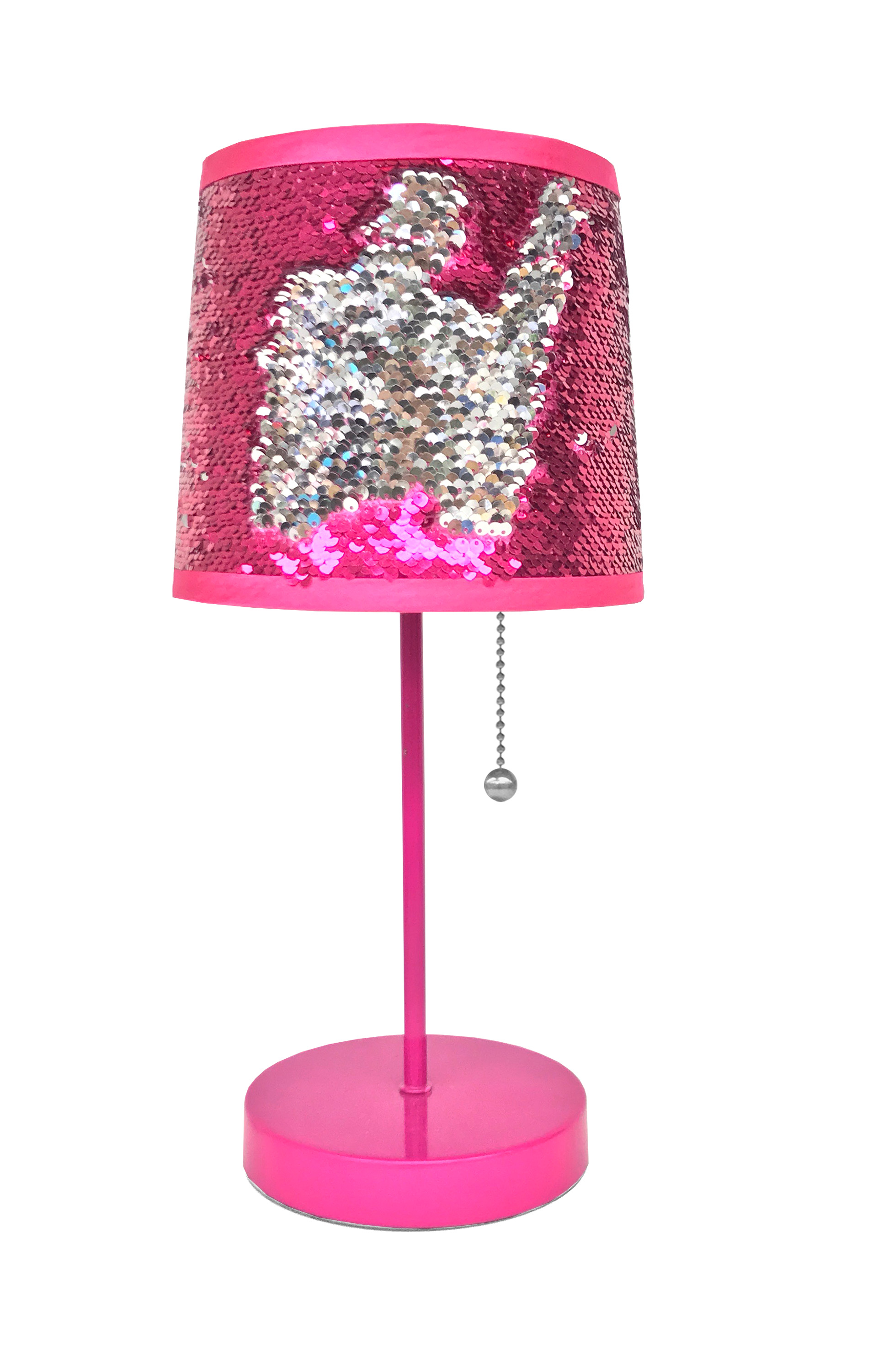 Mainstays Sequin Shade Table Lamp- Fuscia Silver by ONLINE