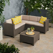 Waverly Outdoor All Weather Faux Wicker 5 Seater Sectional Sofa Set with Cushions, Dark Brown and Beige