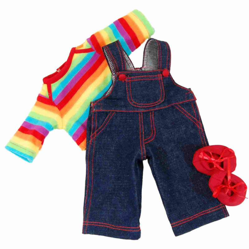 2 piece Outfit Jean Overalls /& Red T-shirt Designed for 18 Inch Dolls