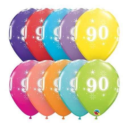 Qualatex 85942 11 in. 90th Birthday A Round Latex - Happy 90th Birthday Balloons