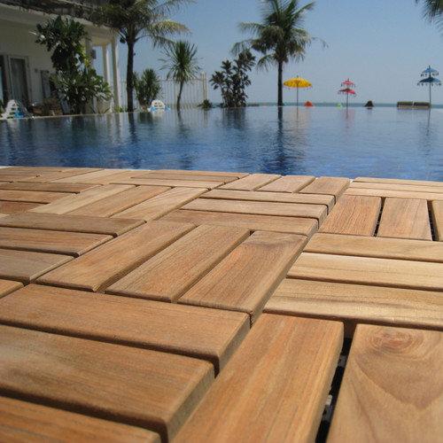 Bare Decor EZ-Floor Interlocking Flooring Tiles in Solid Teak Wood (Set of 10)