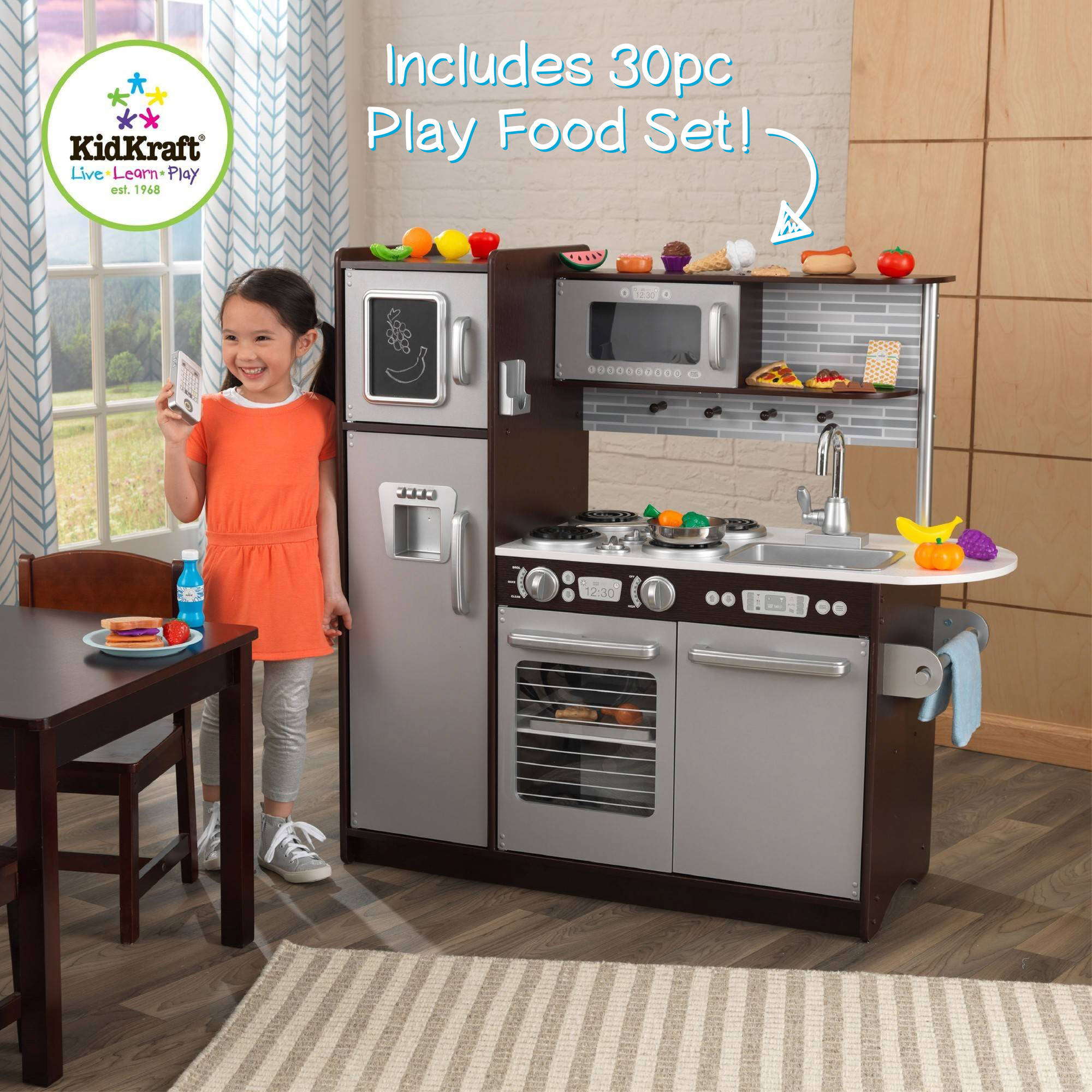 KidKraft Uptown Espresso Wooden Play Kitchen with 30-Pc Play Food Set
