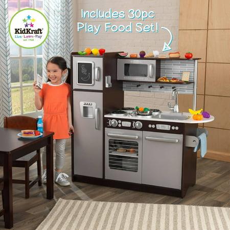 KidKraft Uptown Espresso Wooden Play Kitchen with 30 Piece Play Food Set