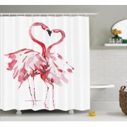 Flamingo Decor Shower Curtain Set, Flamingo Couple Kissing Romance Passion Partners In Love Watercolor Effect Art Work, Bathroom Accessories, 69W X 70L Inches, By Ambesonne