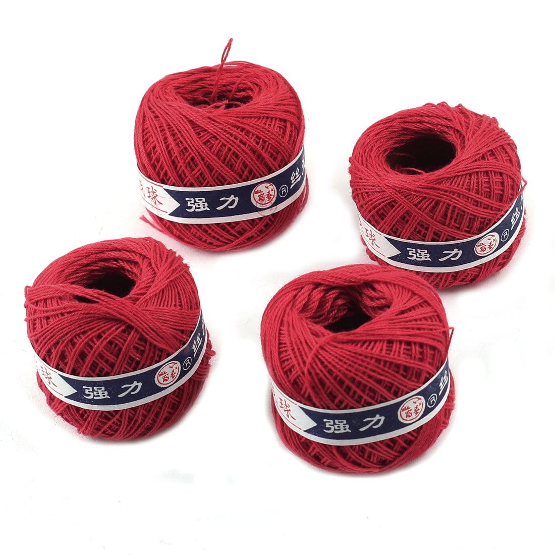 4 Pcs Red Spools Thread Sewing Balls Skeins Crochet String