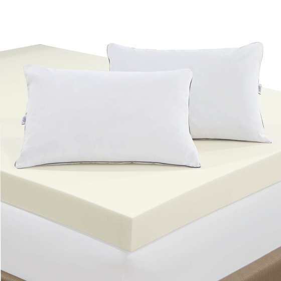 serta 4 inch memory foam mattress topper with 2 memory foam pillows. Black Bedroom Furniture Sets. Home Design Ideas