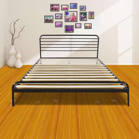 new style 630f6 672be Zimtown Sturdy Metal Bed Frame Queen Size Platform Bed Mattress Foundation  Headboard/Wood Slat Support, No Box Spring Needed (Black)