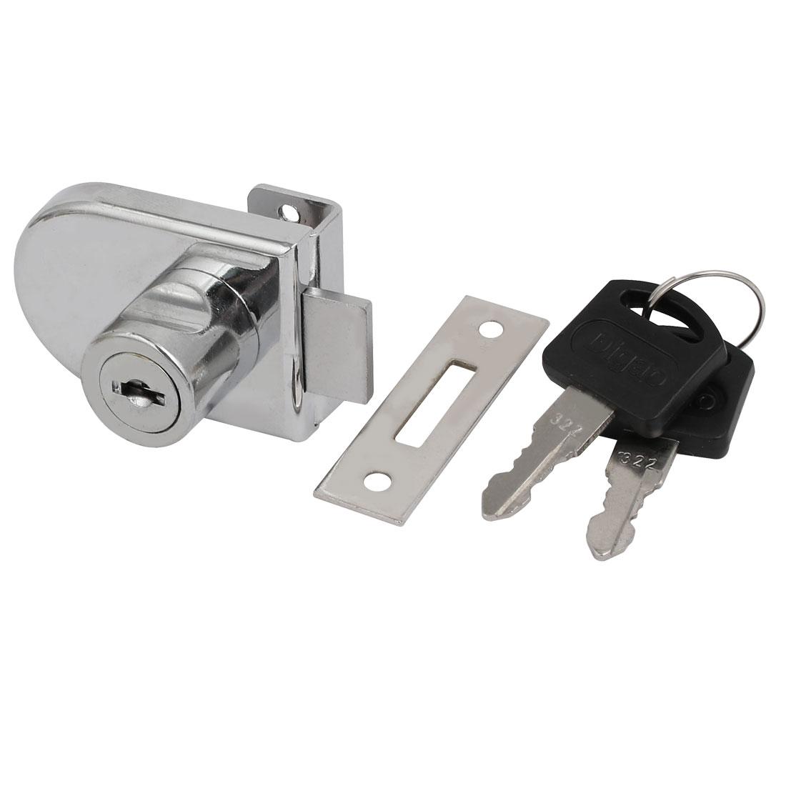 Unique Bargains Glass Door Showcase Metal Screw Mounted Security Lock 9mm Thickness w 2 Keys - image 4 de 4