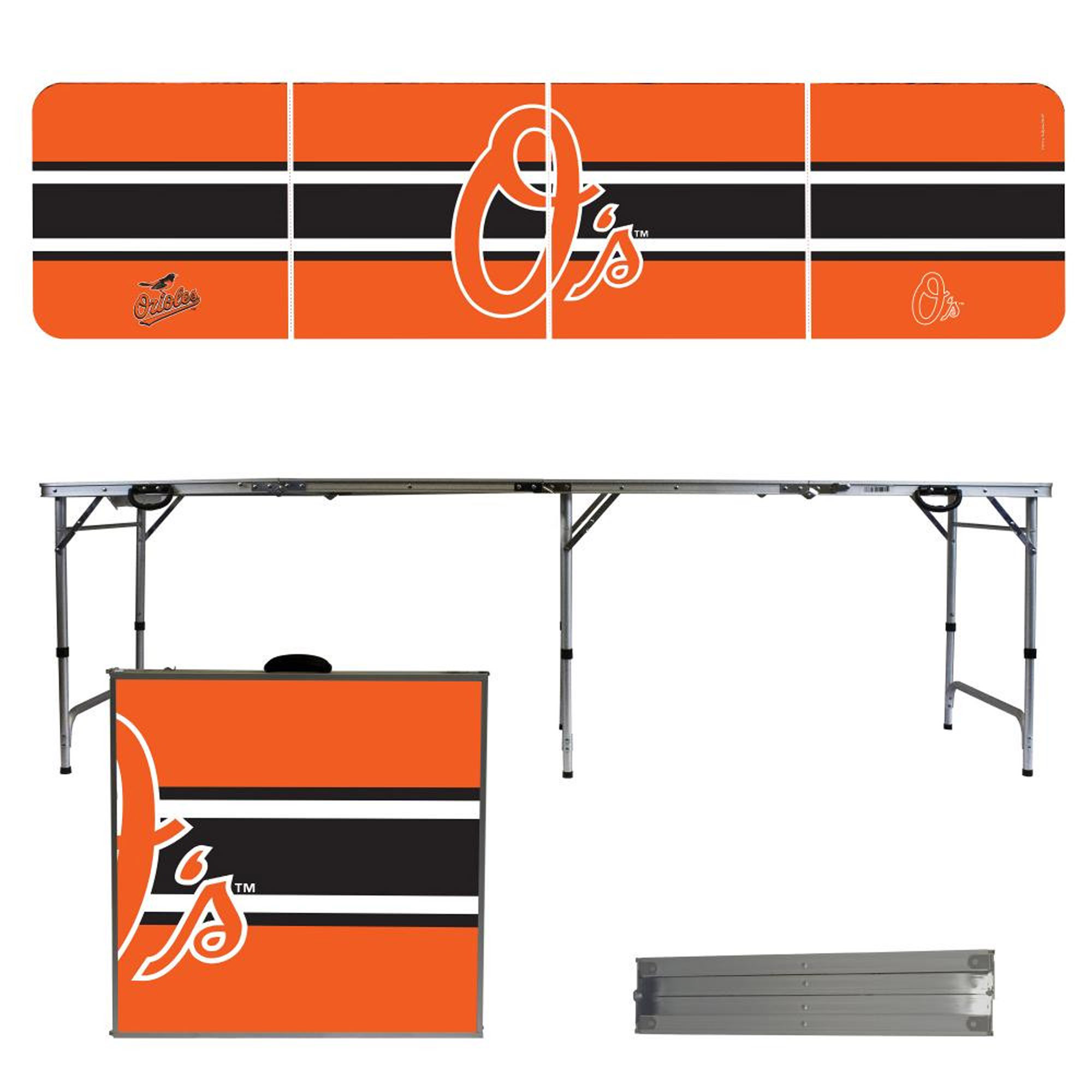 Baltimore Orioles Striped Design 8' Portable Folding Tailgate Table - No Size