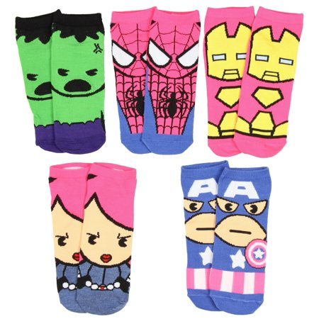 Marvel Womens Superhero Character Socks 5 Pair