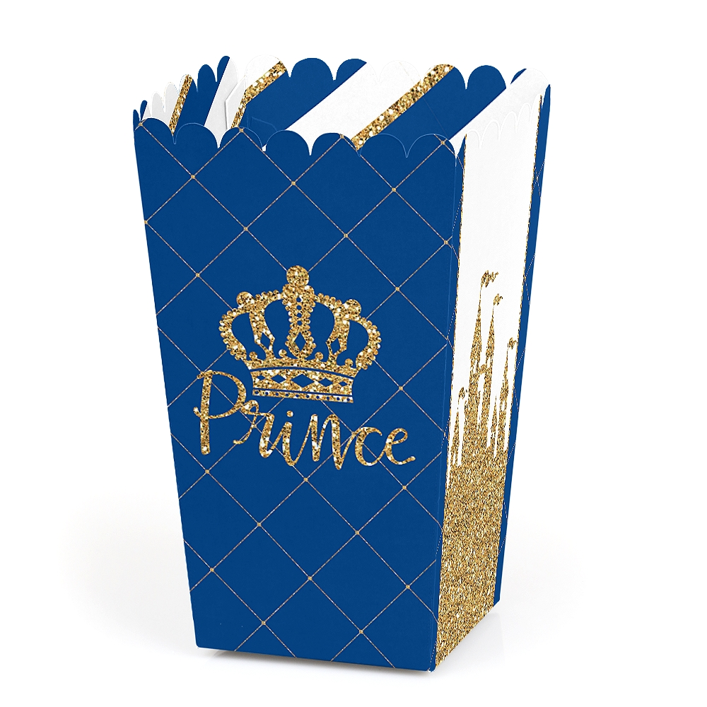 Royal Prince Charming - Baby Shower or Birthday Party Favor Popcorn Treat Boxes - Set of 12