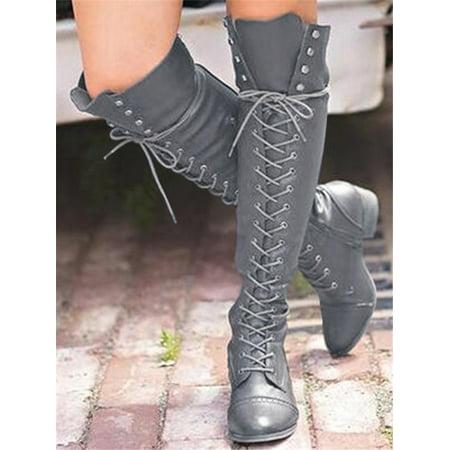 Women Sexy Martin Boots Knee High Crisscross Bandage Boots Womens Kings Cross Boot